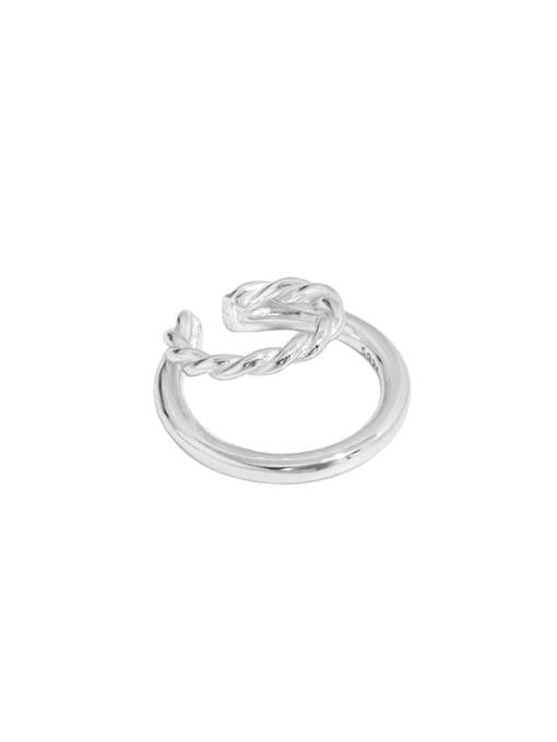 Silver [single] 925 Sterling Silver Geometric Minimalist C-shaped twist Clip Earring